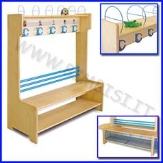 Spogliatoio extra legno 5 posti con ripiano dim.cm 100x40x120h