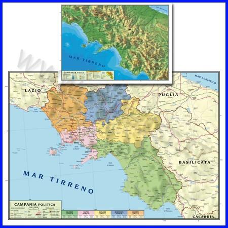 Carta geografica regionale campania 100x140 bifacciale da parete