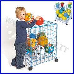 Carrello per giochi e palloni cm.60x70x70h