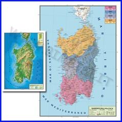Carta geografica regionale sardegna 100x140 bifacciale da parete