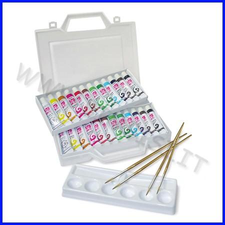 Colori a tempera valigetta 24 tubi ml.12 col.ass. + accessori