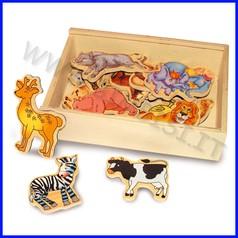 Soggetti magnetici legno animali 20 pz