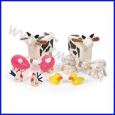 Animali della fattoria in legno (10 pz.)