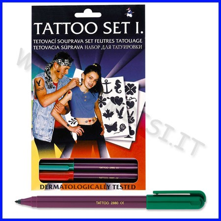Tattoo set 4 pennarelli + accessori