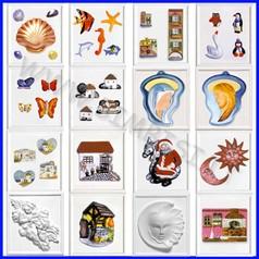 Stampi a rilievo per colata cm. 21x23 20 pezzi assortiti