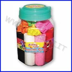 Kiddy clay - plastilina gr.550 - 8color + accessori - barattolo fino ad esaurime