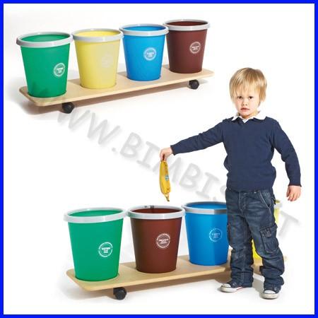 Carrello raccolta differenziata c/ruote 4 cestini + 100 sacchi 25lt