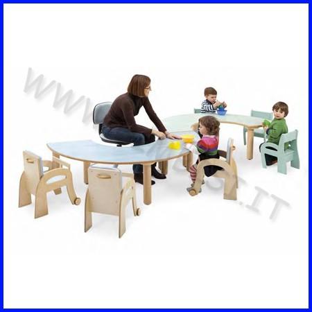 Tavolo semicircolare elementare 160x80x64