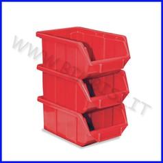 Contenitore archivio con porta etich cm.16x25x12,9 - set 3 pz. - rosso