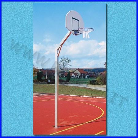 Impianto basket, con tabellone, canestro, rete ed accessori, h 260