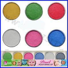Colori viso set 6 pasticche perla/metal