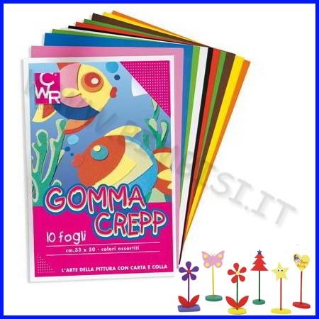 Gomma crepp 10 fogli cm33x50 colori ass.