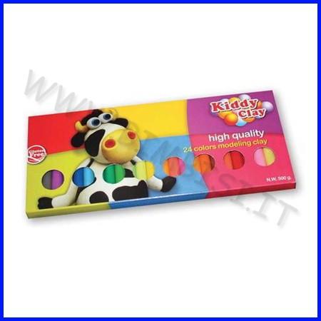 Kiddy clay - plastilina gr.500 - 24 colori - scatola