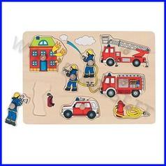 Puzzle legno c/pomelli cm.30x21 - pompieri (8 pz.)