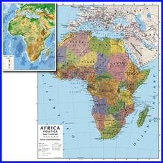 Carta geografica cm.100x140 - africa bifacciale da parete