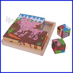 Puzzle-cubi in legno - fattoria