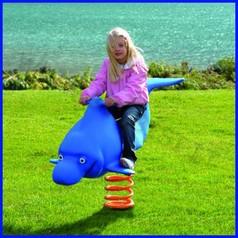 Gioco a molla delfino azzurro flippy polietilene