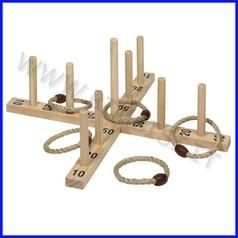 Gioco anelli in legno con 5 cerchi di corda - sacchetto cotone