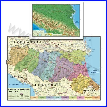 Carta geografica regionale emilia roma- gna 100x140 bifacciale da parete