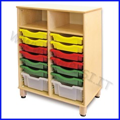 Cassettiera doppia legno cm.72x45x100h