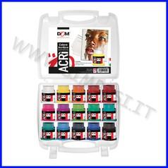 Colori acrilici acri' valigetta 15 flaconi ml.60 + 15 cartoni telati