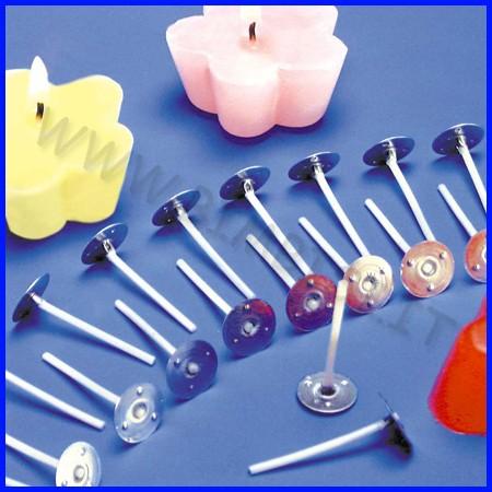 Stoppino base metallo h3.5cm per candele conf. 24 pz