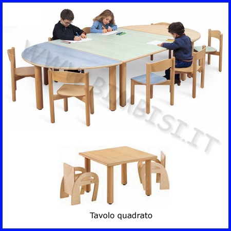 Tavolo quadrato media/adulti 65x65x76
