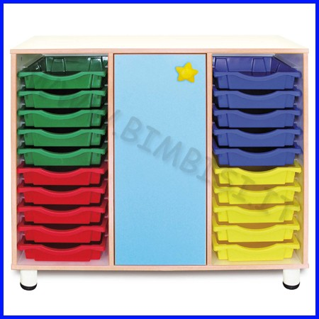 Cassettiera 20 cassetti + 3 vani anta h.cm.100 - azzurro linea simply fino esa