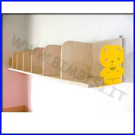 Mensola in legno con separatori dim.cm 140x22 e reggimensole in metallo
