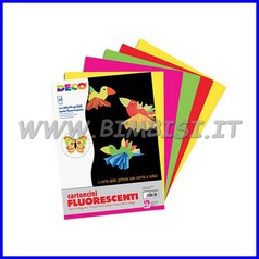 Cartoncini fluo - busta 10 fogli cm. 50x70 - col. ass.