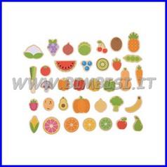 Soggetti magnetici legno frutta verdura 35 pz