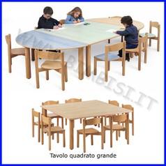 Tavolo quadrato grande media/adulti 130x130x76