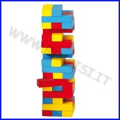 Gioco equilibrio torre in legno colorato (45 pz.)