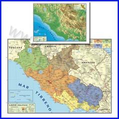 Carta geografica regionale lazio 100x140 bifacciale da parete