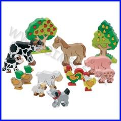 Animali fattoria in legno - conf.14 pz.