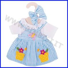 Bambola cm 30 vestitino righe azzurre