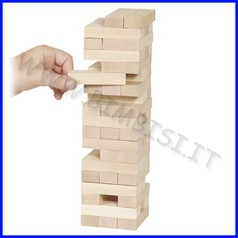 Gioco equilibrio torre in legno cm.7,5x7,5x25,5 (51 pz.)