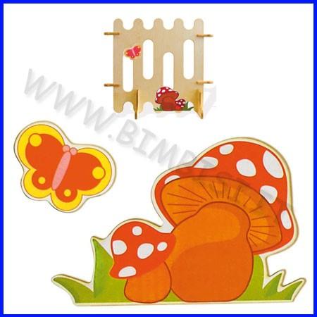 Decorazioni legno funghi e farfalla cm 23x35