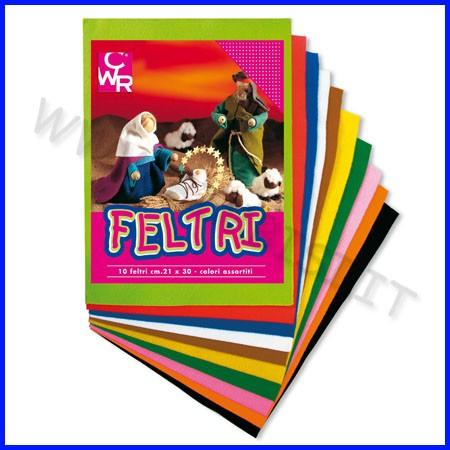 Feltro colori assortiti cm.21x30 - conf. 10 fg.