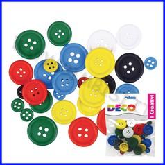 Bottoni in legno assortiti - 30 pz. - colori classici