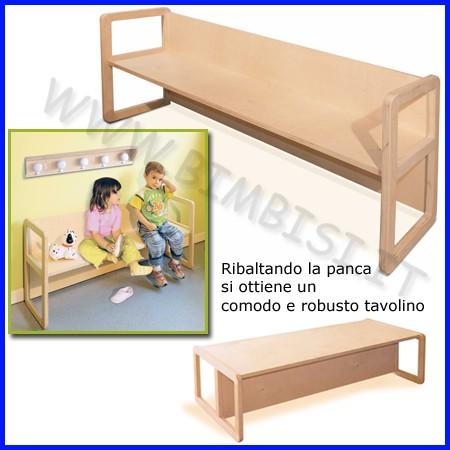 Panca multiuso in legno dim.cm 125x32x52 h seduta 24 - 30 cm colore naturale