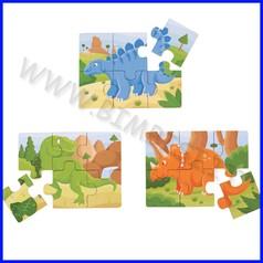 Puzzle legno dinosauri - set 3 pezzi